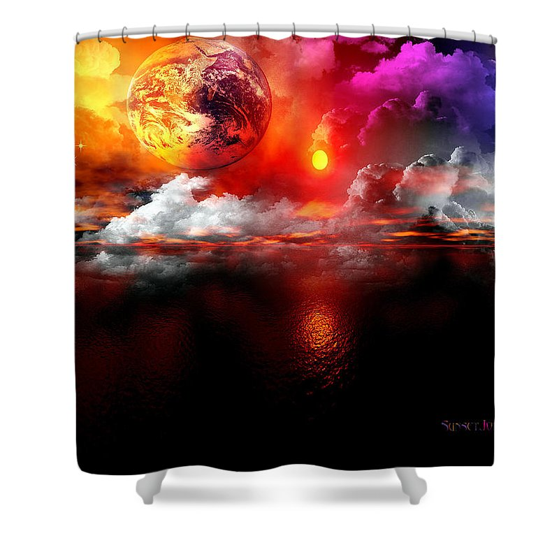 Earth Shower Curtain featuring the digital art Global Warming by Robert Orinski
