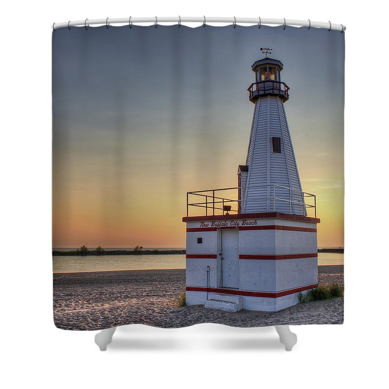New Buffalo Shower Curtain featuring the photograph Glowing In The Background by Scott Wood