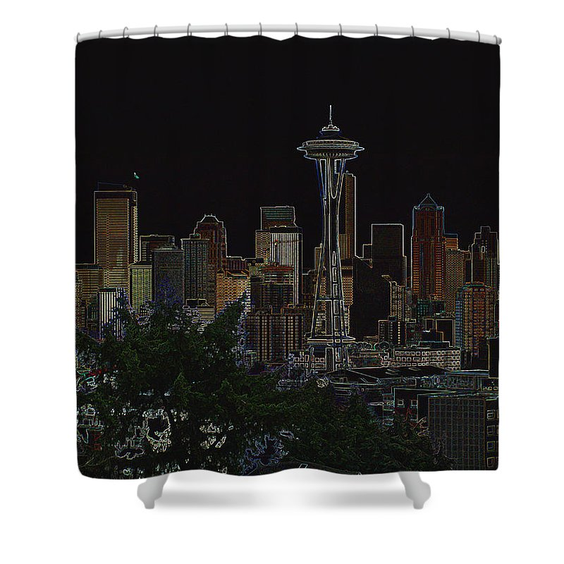 Photograph Shower Curtain featuring the photograph Glowing Seattle Skyline by Kathy Moll