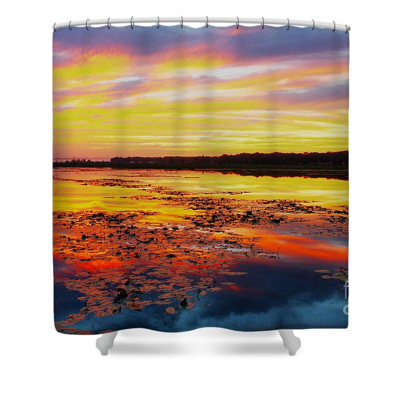 Sunrise Shower Curtain featuring the photograph Glowing Skies Over Crews Lake by Barbara Bowen