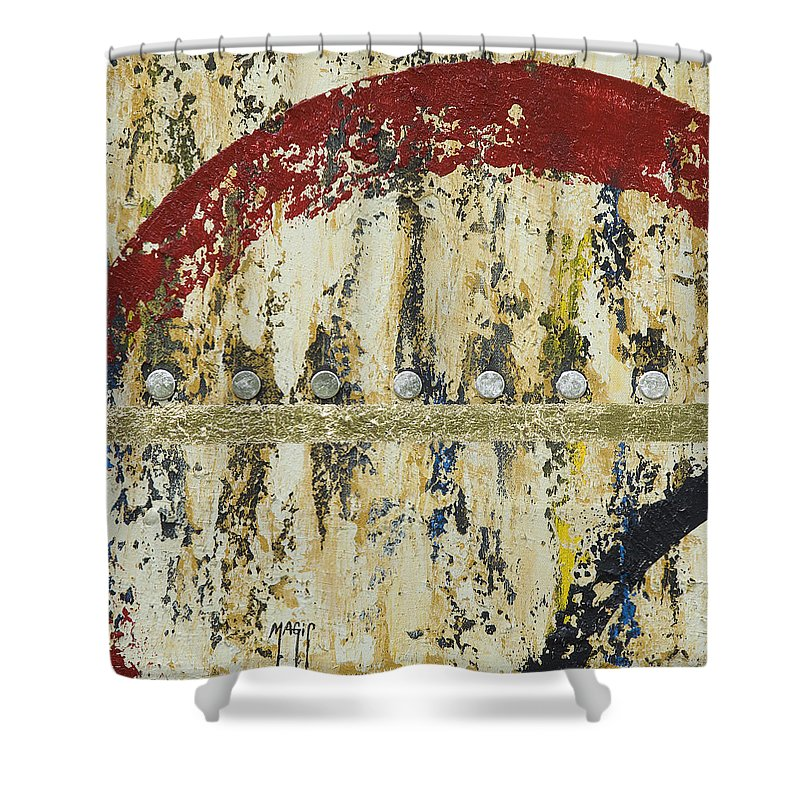 Art Shower Curtain featuring the mixed media Gold And Silver 4 by Mauro Celotti