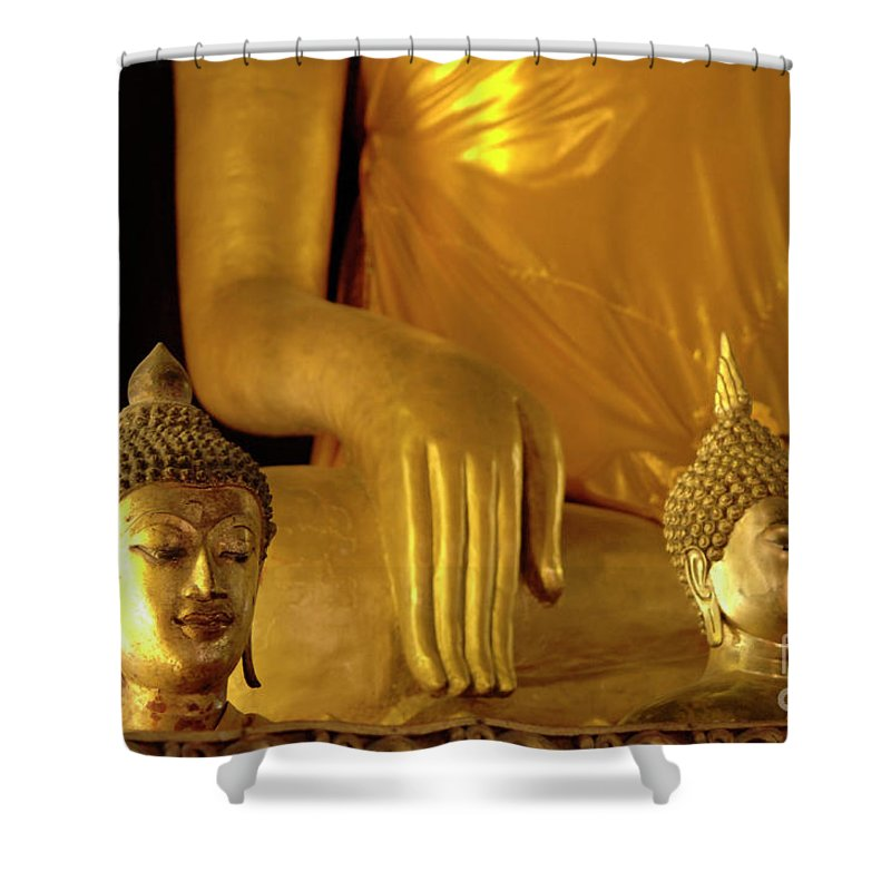 Buddha Shower Curtain featuring the photograph Gold Buddha Figures by Bob Christopher
