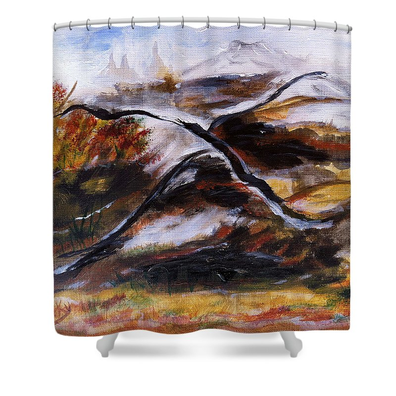 Landscape Shower Curtain featuring the painting Gold Country by Donna Blackhall