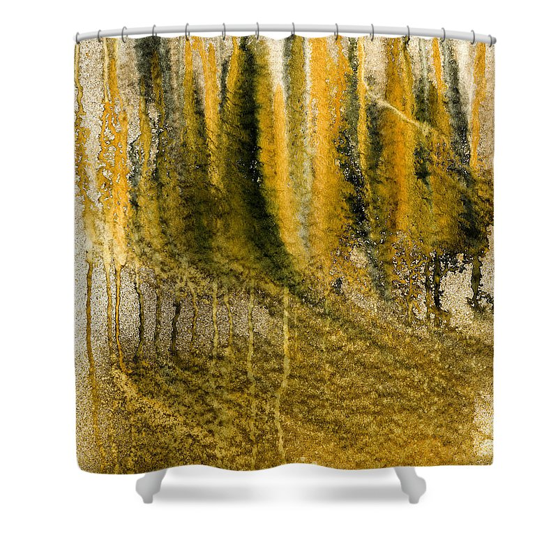 Acrylics Shower Curtain featuring the painting Golden Autumn Forest by Hakon Soreide