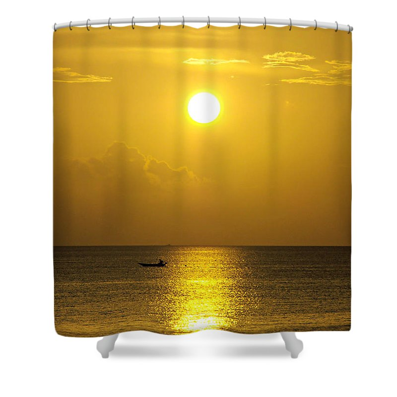 Sunset Shower Curtain featuring the photograph Golden Bahamas Sunset by Kimberly Perry