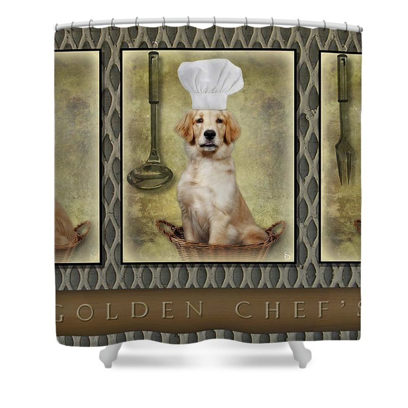 Golden Retrievers Shower Curtain featuring the photograph Golden Chef's by Susan Candelario