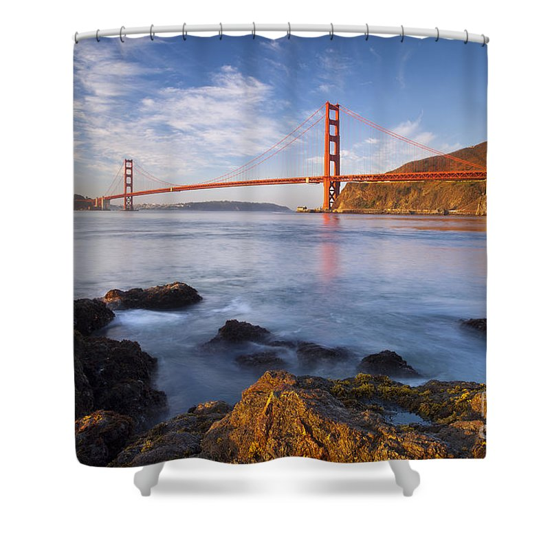 Golden Gate Shower Curtain featuring the photograph Golden Gate At Dawn by Brian Jannsen