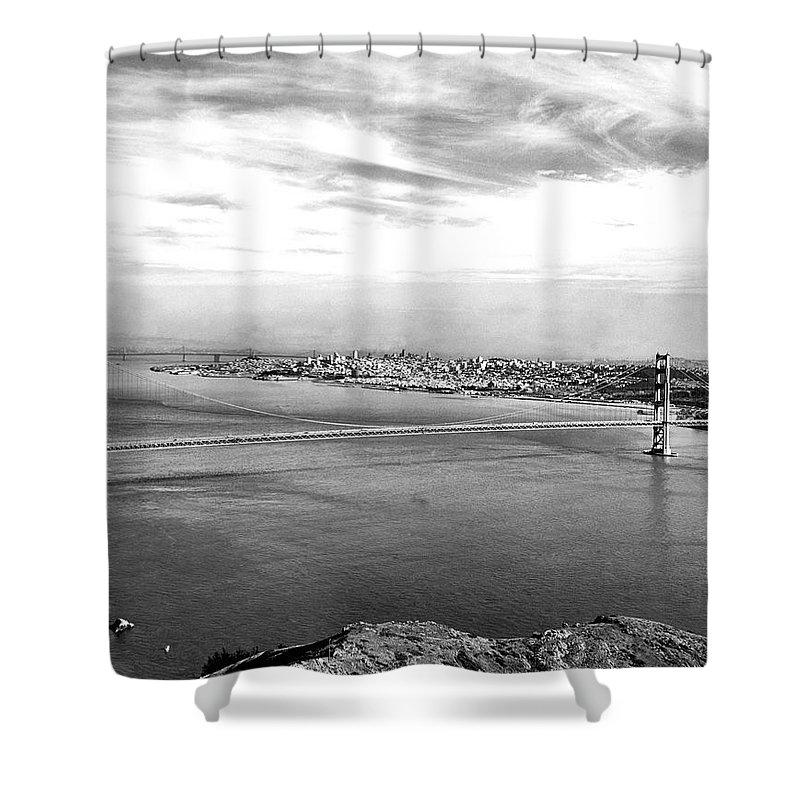 B And W Shower Curtain featuring the photograph Golden Gate Bridge by Underwood Archives