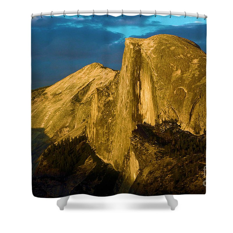 Half Dome Shower Curtain featuring the photograph Golden Half Dome by Adam Jewell
