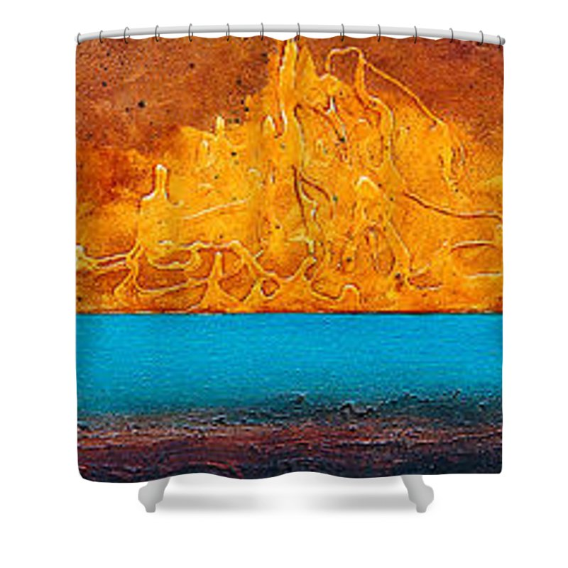 Art Shower Curtain featuring the painting Golden Island by Mauro Celotti