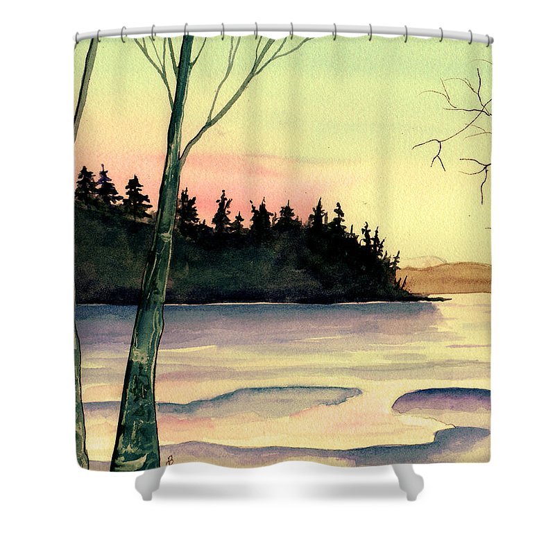 Watercolor Shower Curtain featuring the painting Golden Moment by Brenda Owen
