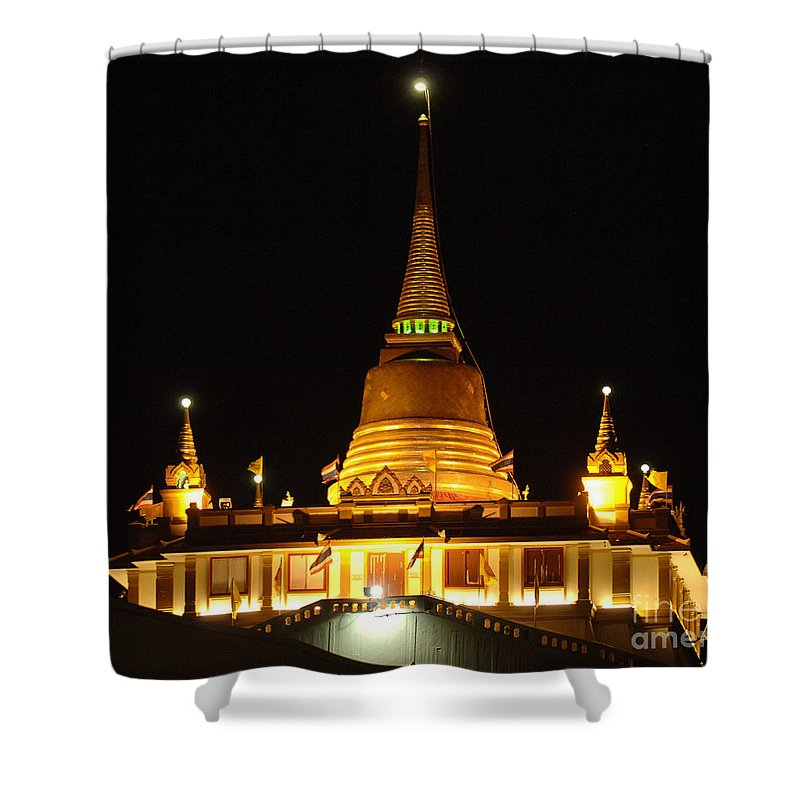 Golden Mount Temple Shower Curtain featuring the photograph Golden Mount Temple Bangkok by Bob Christopher