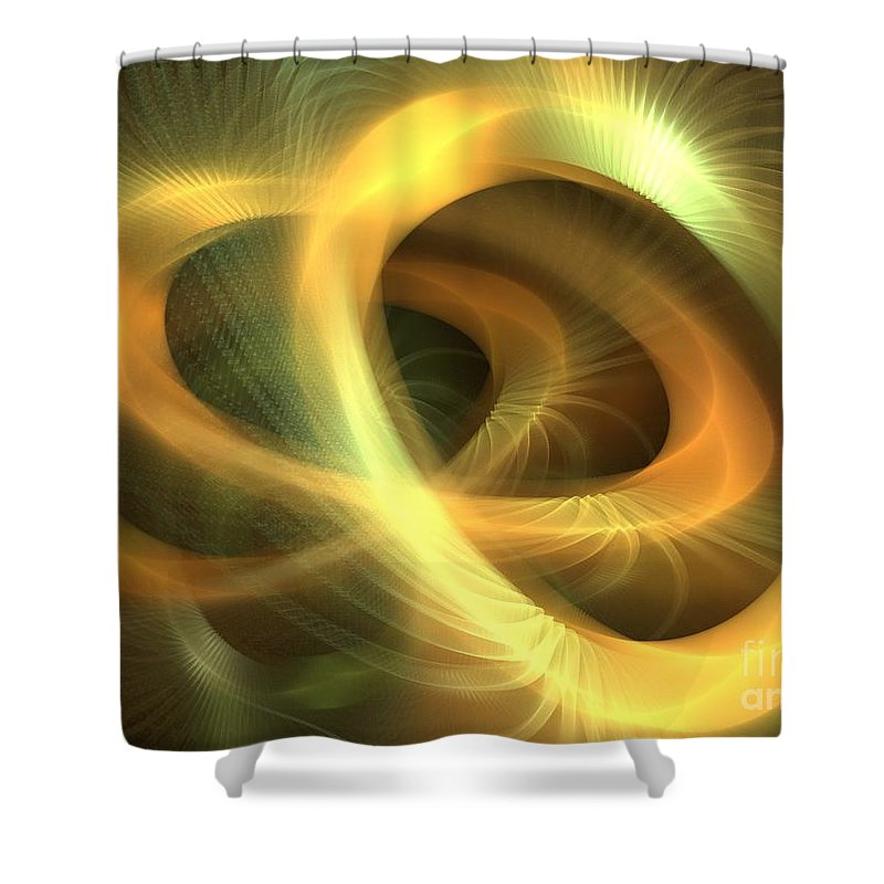 Apophysis Shower Curtain featuring the digital art Golden Rings by Kim Sy Ok