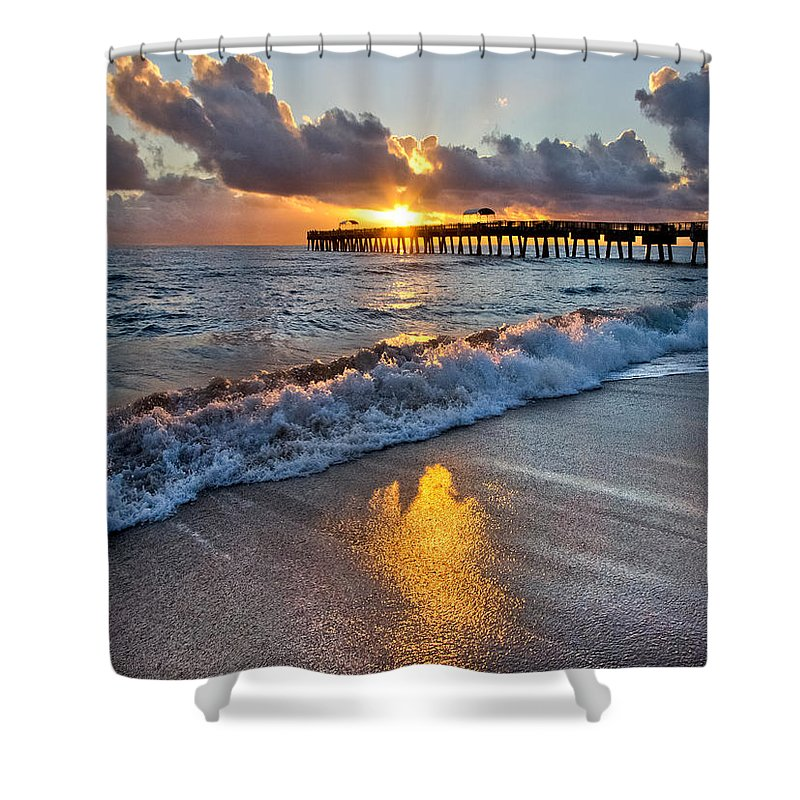 Clouds Shower Curtain featuring the photograph Golden Shadows by Debra and Dave Vanderlaan