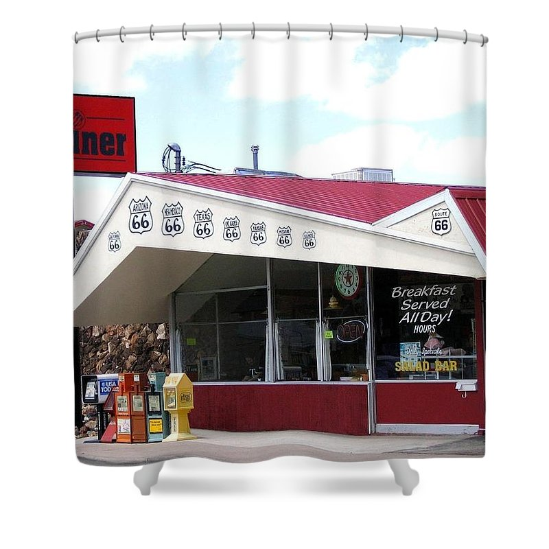 Route 66 Shower Curtain featuring the photograph Goldie's Route 66 Diner by Will Borden