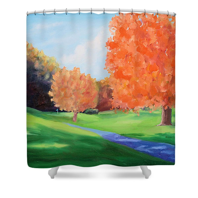 Golf Shower Curtain featuring the painting Golf Course In The Fall 1 by Todd Bandy