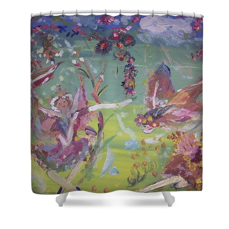 Fairy Shower Curtain featuring the painting Good Morning Fairies by Judith Desrosiers
