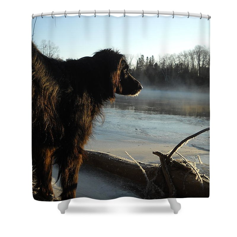 Dog Shower Curtain featuring the photograph Good Morning Mississippi River by Kent Lorentzen