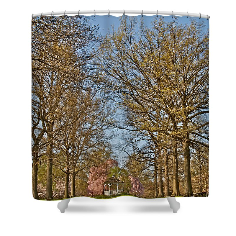 Scenic Trees Gazebo Cherry Blossoms Philadelphia Japanese Gardens Fairmount Shower Curtain featuring the photograph Gorgeous by Alice Gipson