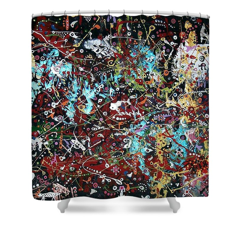 Abstract-expressionism Shower Curtain featuring the painting Government Bureaucracy Is Making Me Crazy by Charlotte Nunn