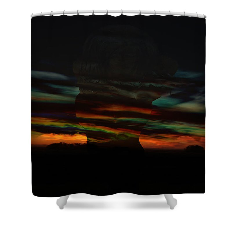 Woman Clouds Sky Colors Of The Rainbow Image Naked Women Night Dusk Sunset Storm Within Shower Curtain featuring the photograph Grabbing Life By The Colors by Andrea Lawrence