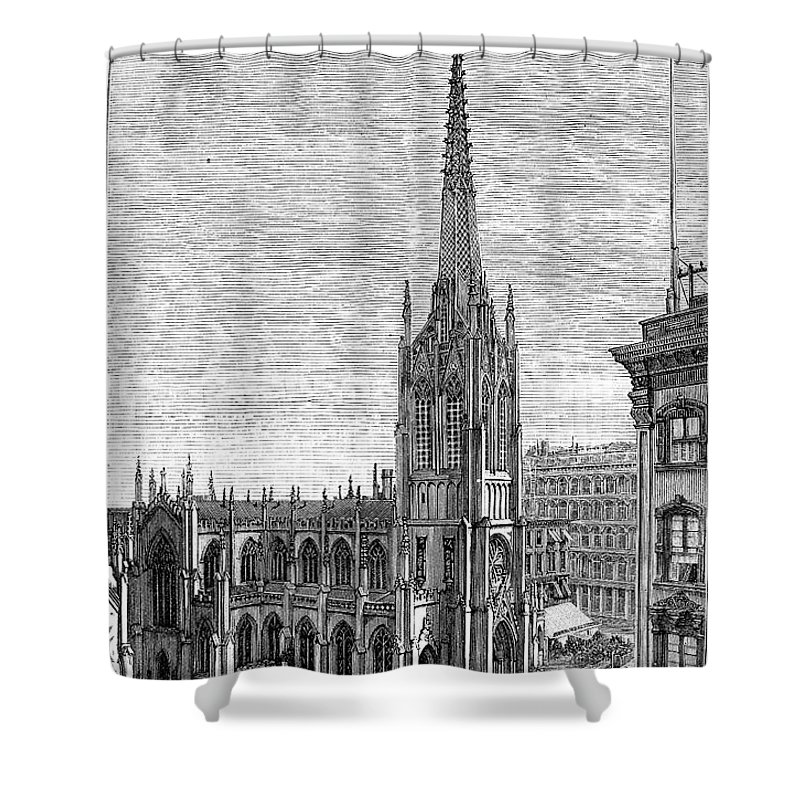 1883 Shower Curtain featuring the photograph Grace Church, 1883 by Granger