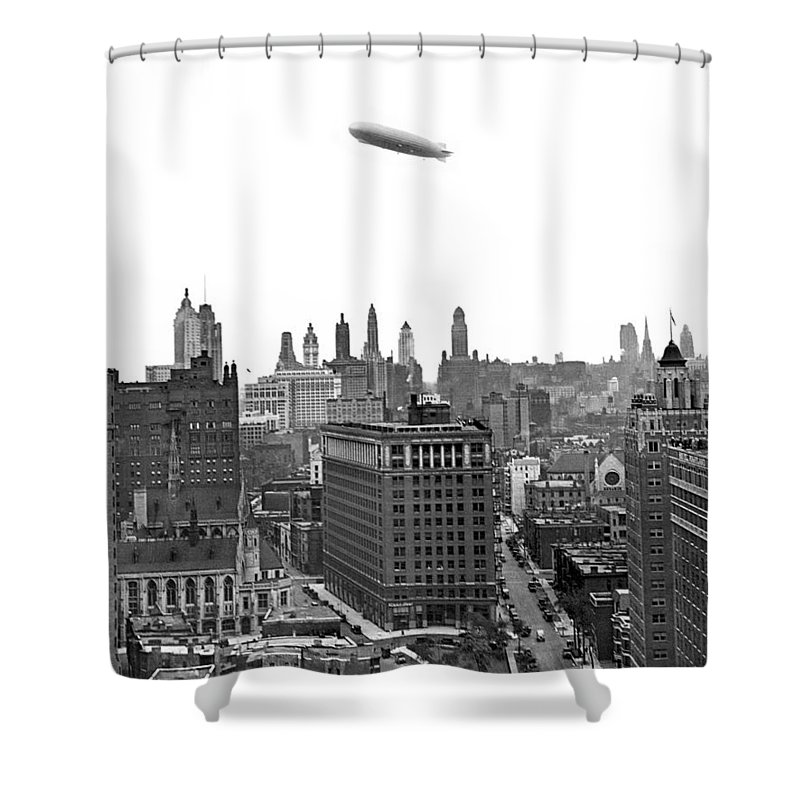 1920's Shower Curtain featuring the photograph Graf Zeppelin Over Chicago by Underwood Archives