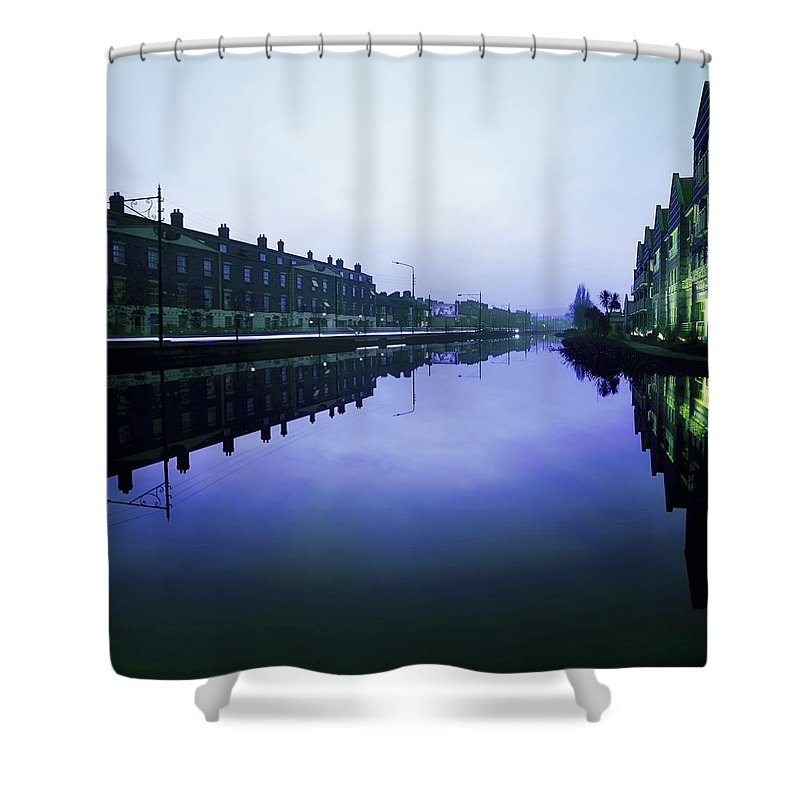 Blue Sky Shower Curtain featuring the photograph Grand Canal, Portobello, Dublin, Co by The Irish Image Collection