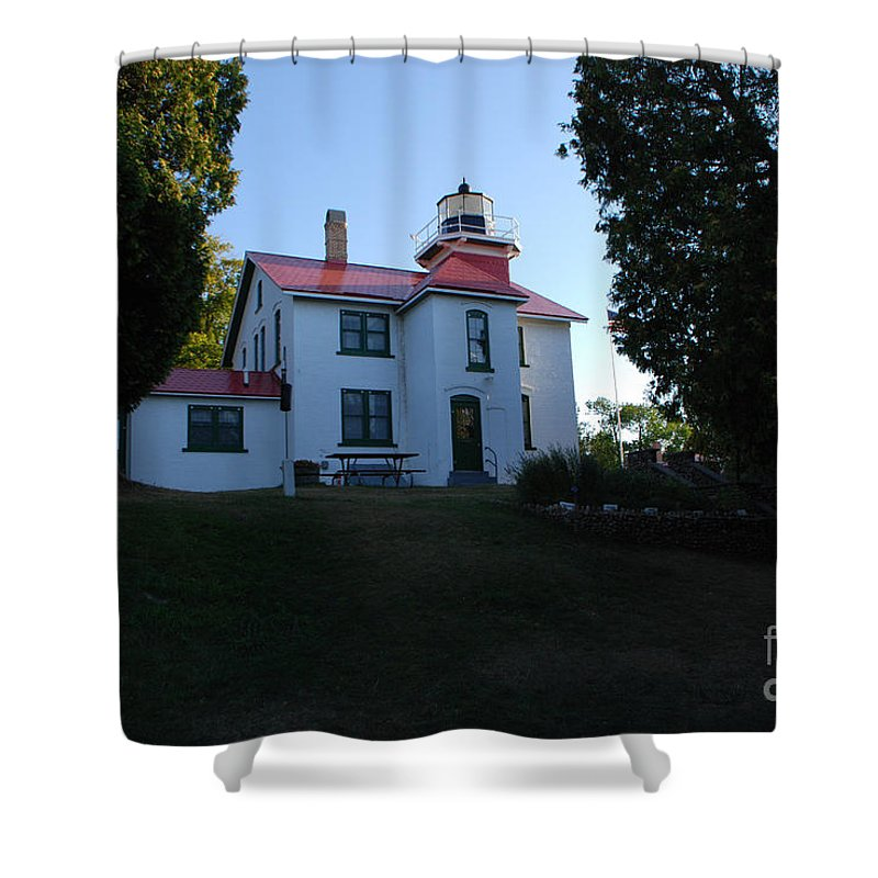 Grand Traverse Lighthouse Shower Curtain featuring the photograph Grand Traverse Lighthouse by Grace Grogan