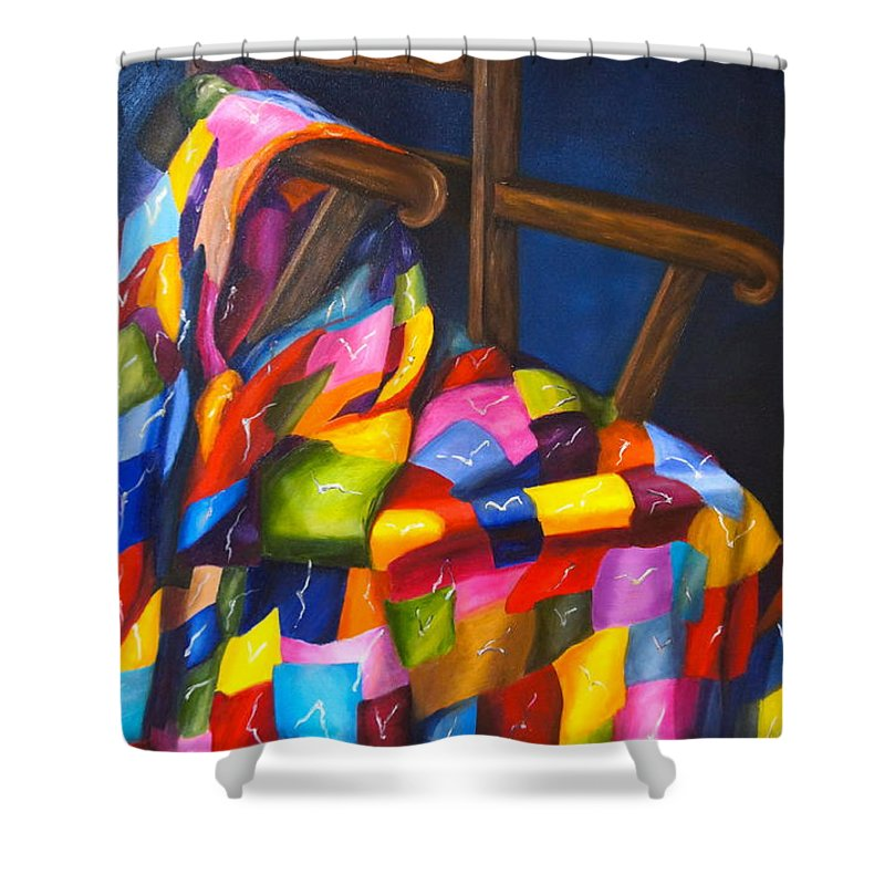 Quilt Shower Curtain Featuring The Painting Grans By Marlyn Boyd