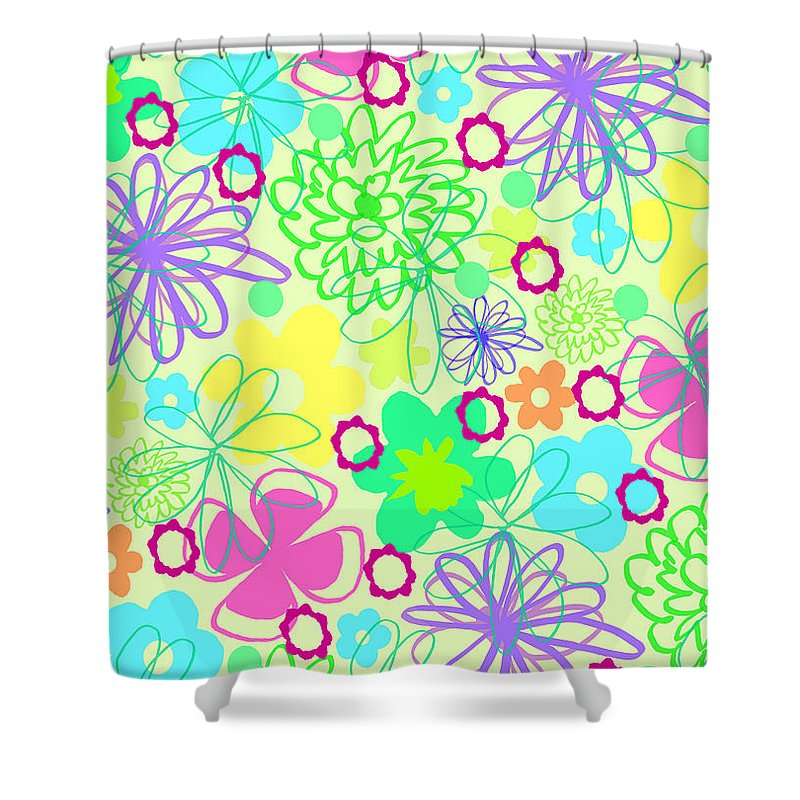 Flower Shower Curtain featuring the digital art Graphic Flowers by Louisa Knight