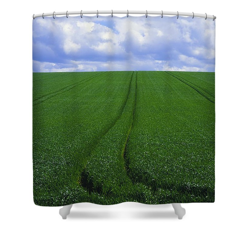 Color Image Shower Curtain featuring the photograph Grass Field by The Irish Image Collection