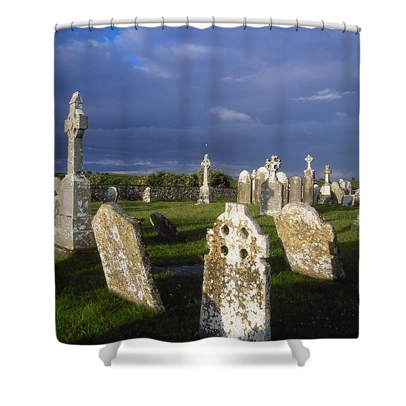 Clonmacnoise Shower Curtain featuring the photograph Graveyard, Clonmacnoise, County Offaly by Gareth McCormack