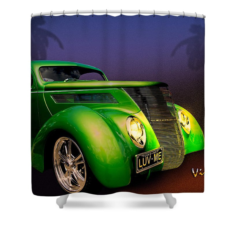 37 Shower Curtain featuring the photograph Green 37 Ford Hot Rod Decked Out For A Tropical Saint Patrick Day In South Texas by Chas Sinklier