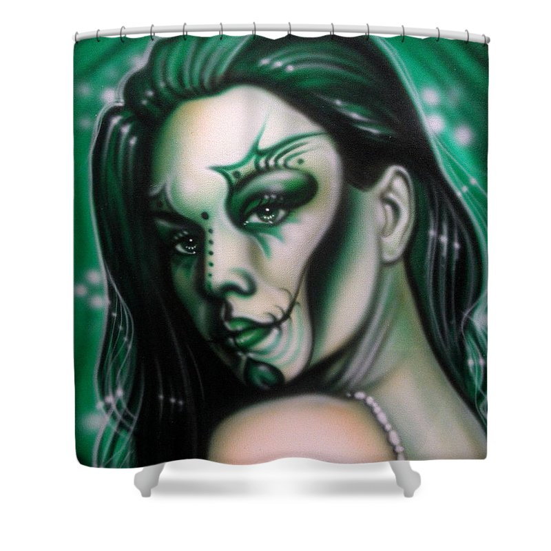 Fantasy Shower Curtain featuring the painting Green Beauty by Timothy Scoggins