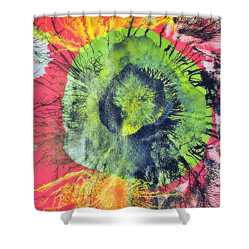 Abstract Shower Curtain featuring the painting Green Dot by Sumit Mehndiratta
