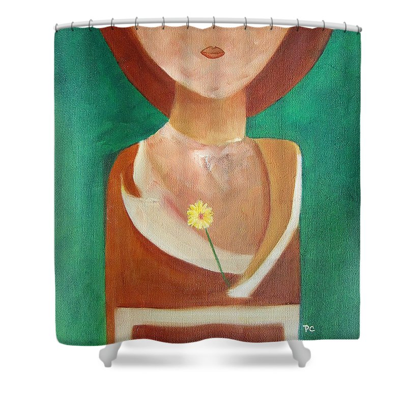 Original Shower Curtain featuring the painting Green Eyes by Patricia Cleasby