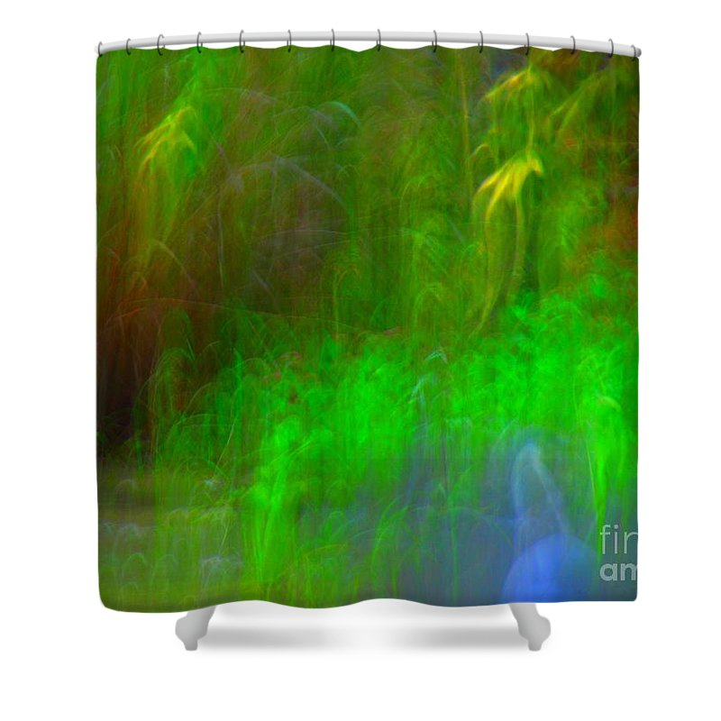 Abstract Shower Curtain featuring the digital art Green fog by Rrrose Pix