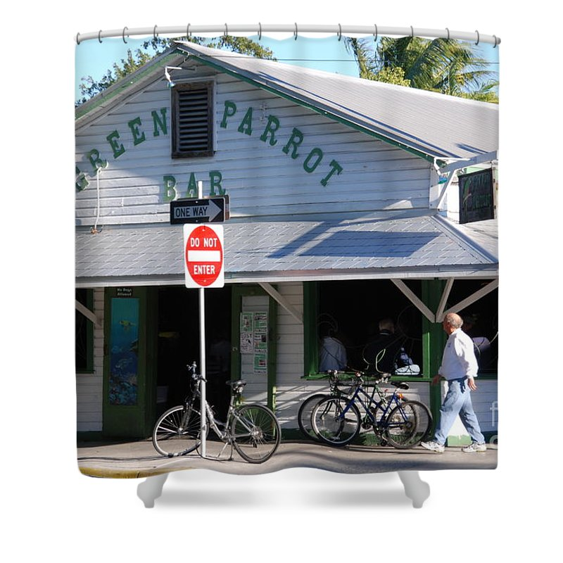 Key West Shower Curtain featuring the photograph Green Parrot Bar In Key West by Susanne Van Hulst