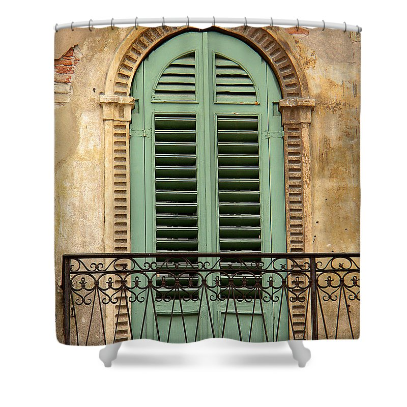 Green Shower Curtain featuring the photograph Green Shutters And Balcony In Verona by Greg Matchick