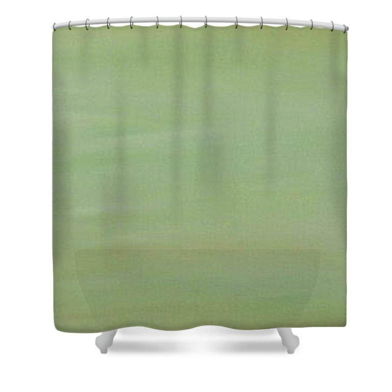 Boston Terrier Shower Curtain featuring the painting Green Space by Susan Herber