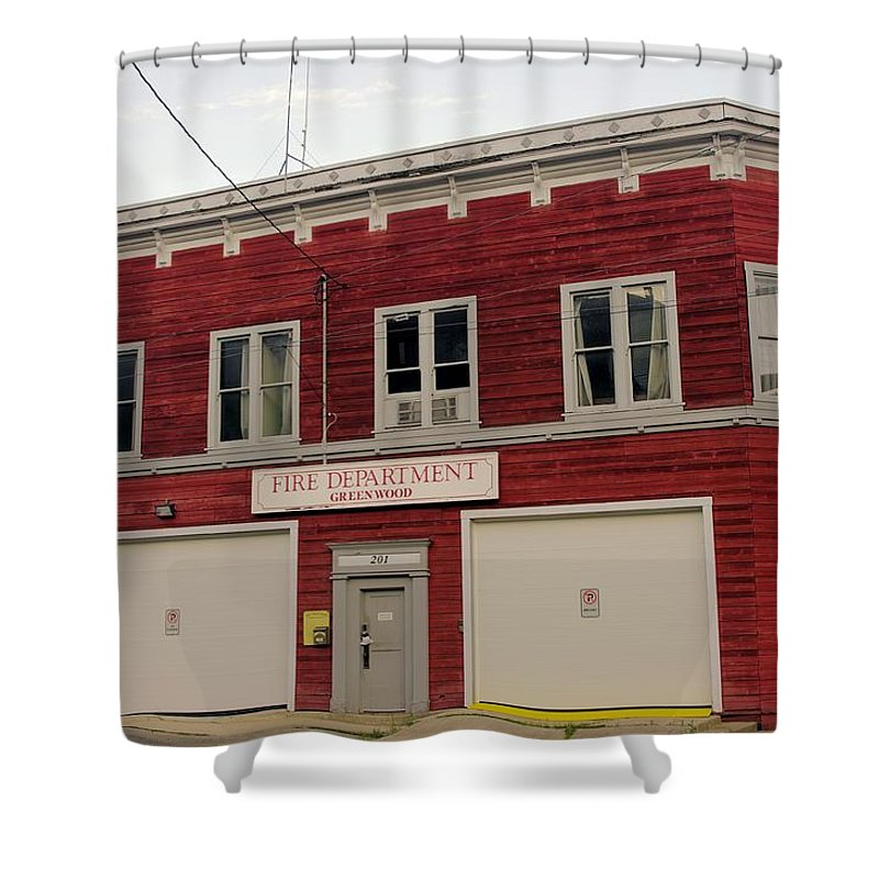 Fire Shower Curtain featuring the photograph Greenwood Fire Hall by John Greaves