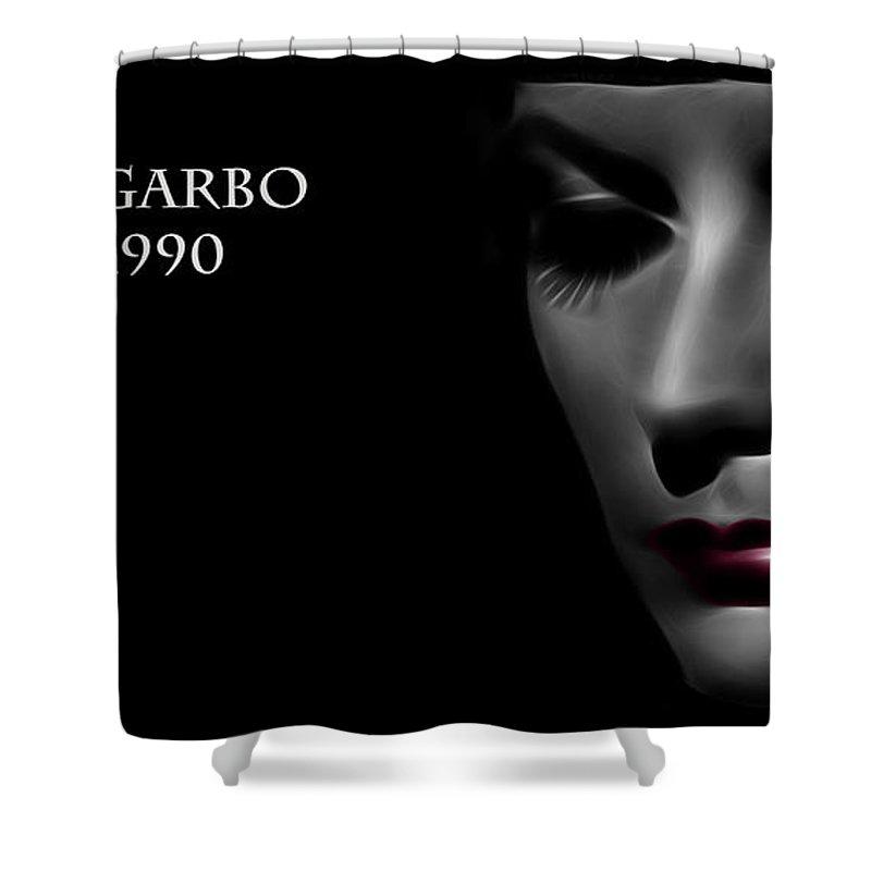 Greta Garbo Modern Digital Painting Pop Art Golden Twenties 20s Silent Hollywood Shower Curtain featuring the digital art Greta Garbo 1905 1990 by Steve K