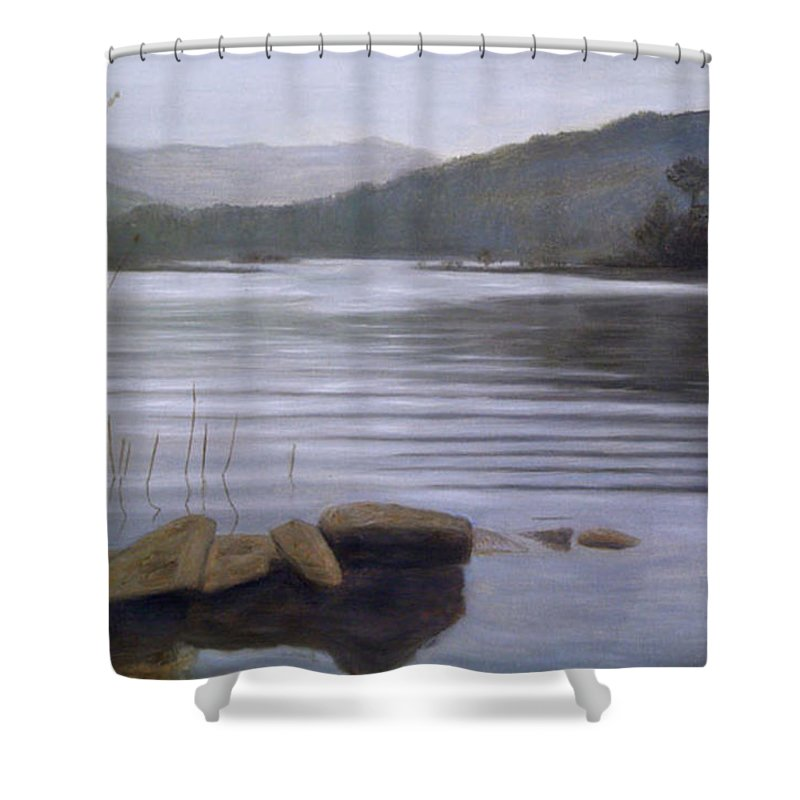 Lake Windermere Shower Curtain featuring the painting Grey Day by Ronald Haber