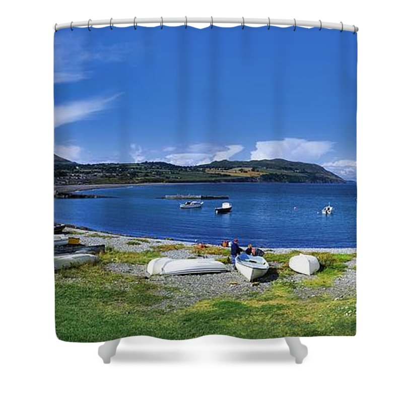 Bay Shower Curtain Featuring The Photograph Greystones Co Wicklow Ireland By Irish Image