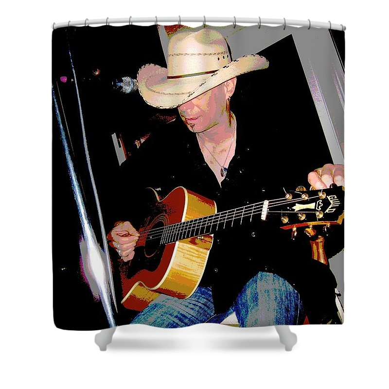 Guitar Shower Curtain featuring the photograph Guitar Man by Linda Hutchins