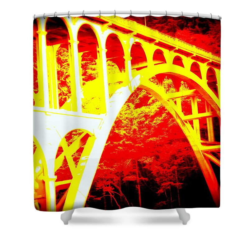 Coast Shower Curtain featuring the photograph Haceta Head Bridge In Abstract by Kathy Sampson
