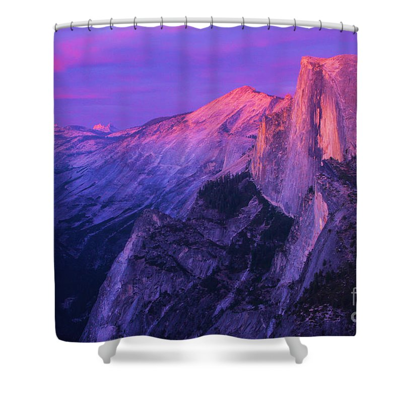 Half Dome Shower Curtain featuring the photograph Half Purple Dome by Adam Jewell