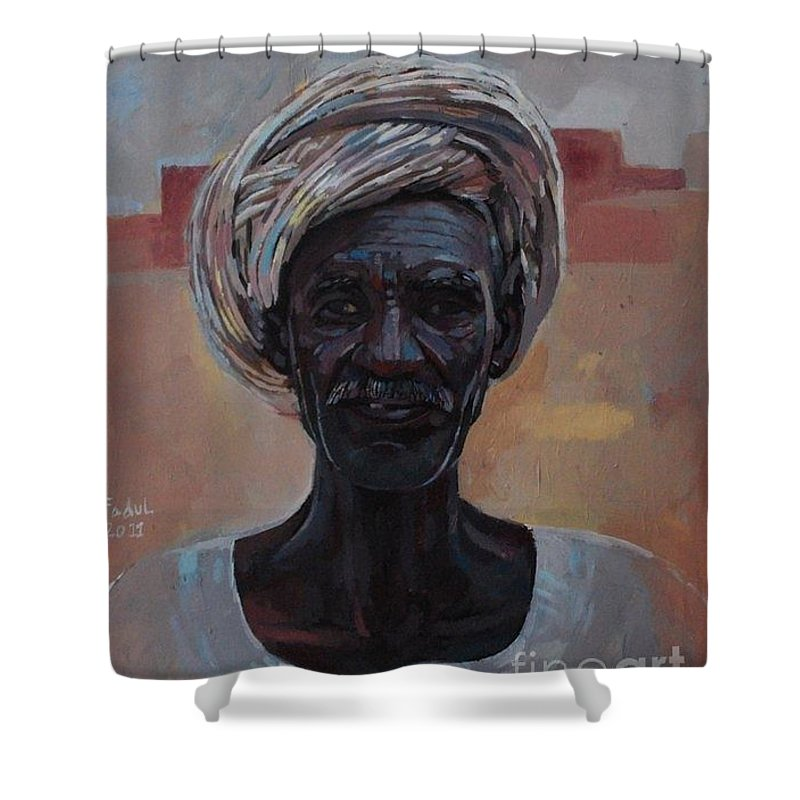 Hamad Abbas Shower Curtain featuring the painting Hamad Abbas by Mohamed Fadul