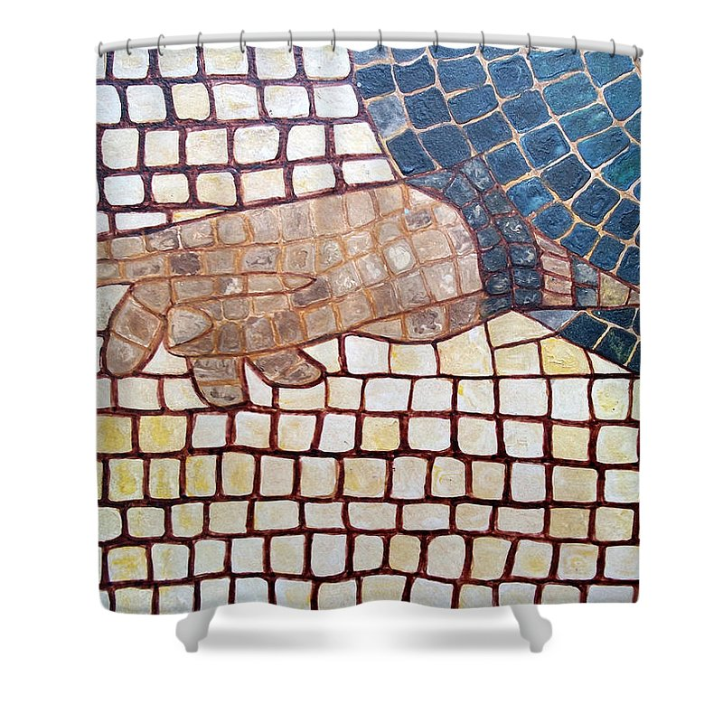 God Shower Curtain featuring the painting Hand Of God by Cynthia Amaral